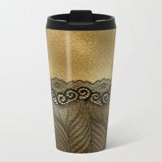 Black floral luxury lace on gold effect metal background Metal Travel Mug