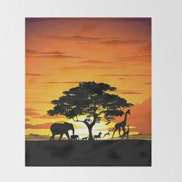 Wild Animals on African Savanna Sunset Throw Blanket