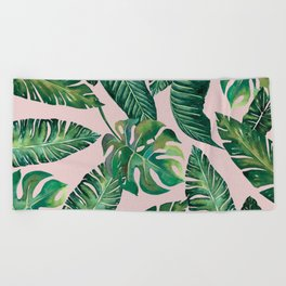 Jungle Leaves, Banana, Monstera Pink #society6 Beach Towel