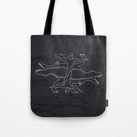 mythology Tote Bags featuring Greek Dinosaur Mythology by Birgit Palma