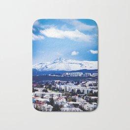 Snowy Mountain in the Distance behind Reykjavik Neighborhood Bath Mat