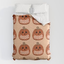 A 2020 Halloween - Pumpkin Jack-o-lanterns with Face Masks  Comforters