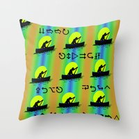 rowing Throw Pillows featuring Keep Rowing Your Boat MF by Trippin Up