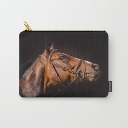 Horse portrait over a dark background. Closeup Horse Head. Carry-All Pouch