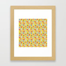 Melons and Jugs Pattern Yellow Framed Art Print