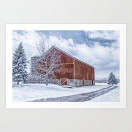 Snowing at the Farm Art Print
