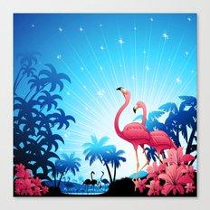 Pink Flamingos on Blue Tropical Landscape Canvas Print