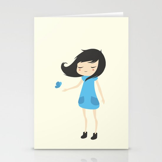 Girl and a Butterfly 2 Stationery Cards
