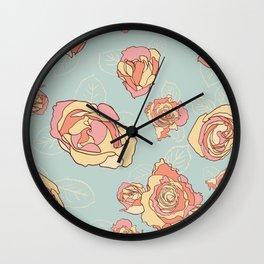 Roses Seamless Repeating Pattern Wall Clock