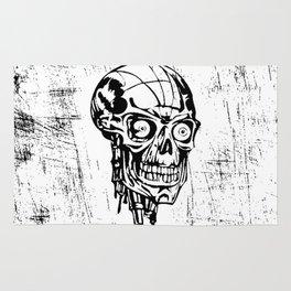 Skull black and white sketch Rug