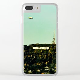 Hollywood Sign with Blimp Clear iPhone Case