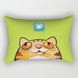 Cat love twitter bir green Rectangular Pillow