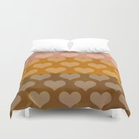 rose gold Duvet Covers featuring Patina Hearts Rose Gold by Beautiful Homes