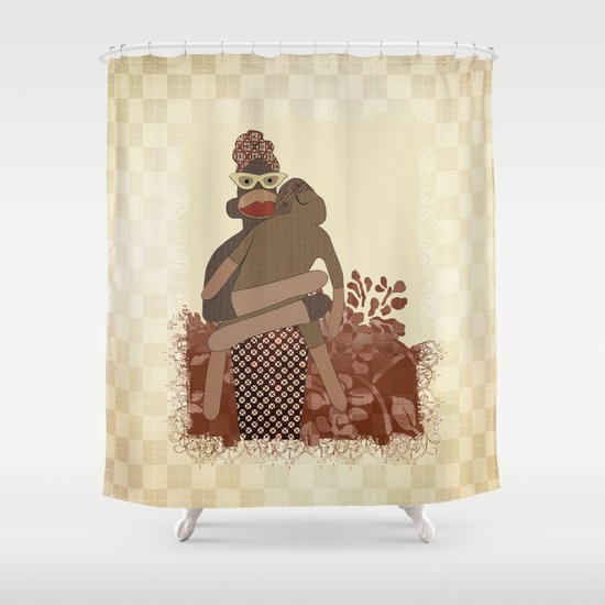 Sock Monkey Mother And Child Shower Curtain By Aquamarine