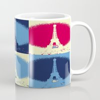 eiffel Mugs featuring Eiffel Tower by Aloke Design