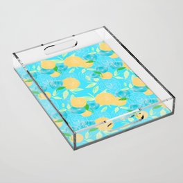 06 Yellow Blooms on Blue Acrylic Tray