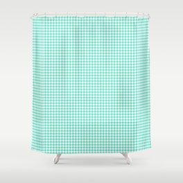 Aqua Blue And White Hounds-tooth Check Shower Curtain