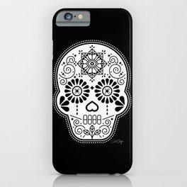 Día de Muertos Calavera • Mexican Sugar Skull – White on Black Palette iPhone Case