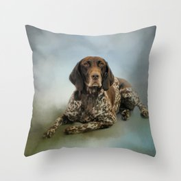 Waiting For A Cue - German Shorthaired Pointer Throw Pillow