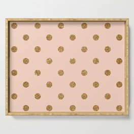 Bisque Gold Glitter Dot Pattern Serving Tray