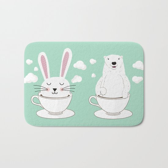 Take a Cup of Bunny Bath Mat