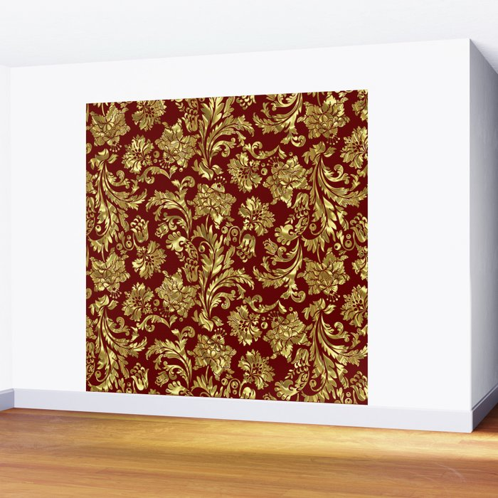 Red & Gold Floral Damasks Pattern Wall Mural