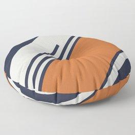 Retro Stripes in Blue Orange Floor Pillow