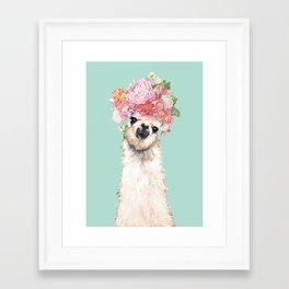 Llama with Flowers Crown #3 Framed Art Print