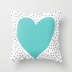 Turquoise heart with grey dots around Throw Pillow