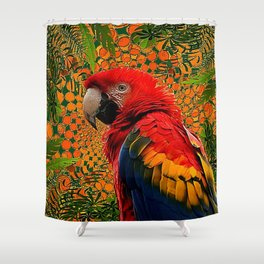 RED JUNGLE MACAW PATTERN ABSTRACT Shower Curtain