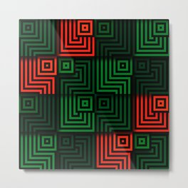 Red and green tiles with op art squares and corners Metal Print