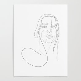 circly - linear girl portrait Poster