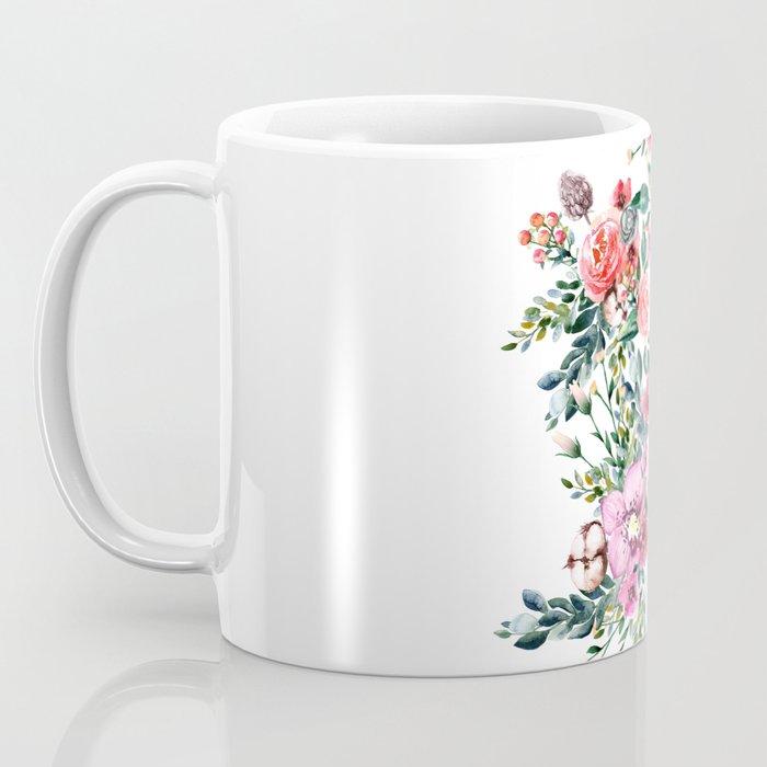 Hummingbird and Flowers Watercolor Animals Coffee Mug