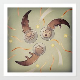 Astro Otters Art Print