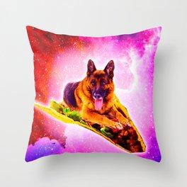 Outer Space Galaxy Dog Riding Taco Throw Pillow