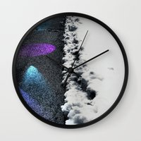 borderlands Wall Clocks featuring Borderlands by Julie Maxwell