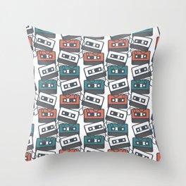 Cassette Tape Pattern Throw Pillow