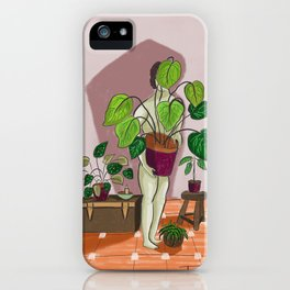 boys with love for plants illustration painting iPhone Case