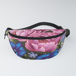 pinky and blue flowers Fanny Pack