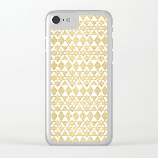 White and Gold Geometric Pattern 4 Clear iPhone Case