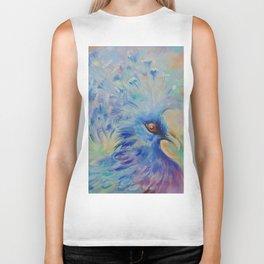 Blue Bird Fancy colorful bird Wildlife illustration Impressionistic painting of nature Biker Tank