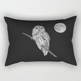 Owl, See the Moon (bw) Rectangular Pillow