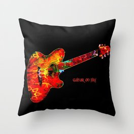 Guitar On Fire By Annie Zeno  Throw Pillow