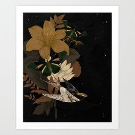 Moon and bird Art Print