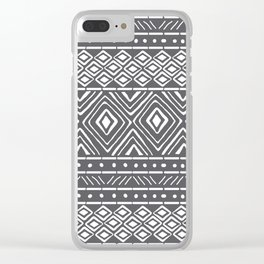 African Mud Cloth // Charcoal Clear iPhone Case