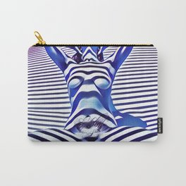 9665s-KMA_5201 Powerful Blue Woman Open Free Striped Sensual Sexy Abstract Nude Carry-All Pouch