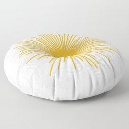 Mustard Yellow Retro Sun on Off-White Floor Pillow