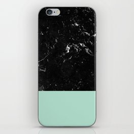 Pastel Mint Meets Black Marble #1 #decor #art #society6 iPhone Skin