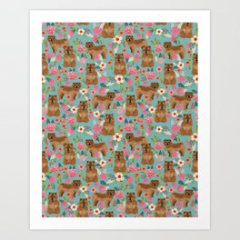Chow Chow dog breed pet art dog floral pattern gifts for dog lover pet friendly Art Print