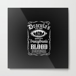 Dracula's blood label Parody Metal Print